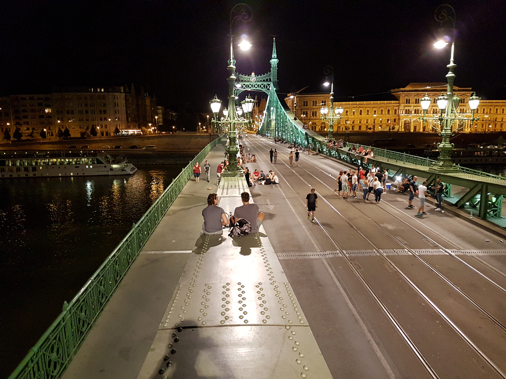 Climbing the bridge in Budapest