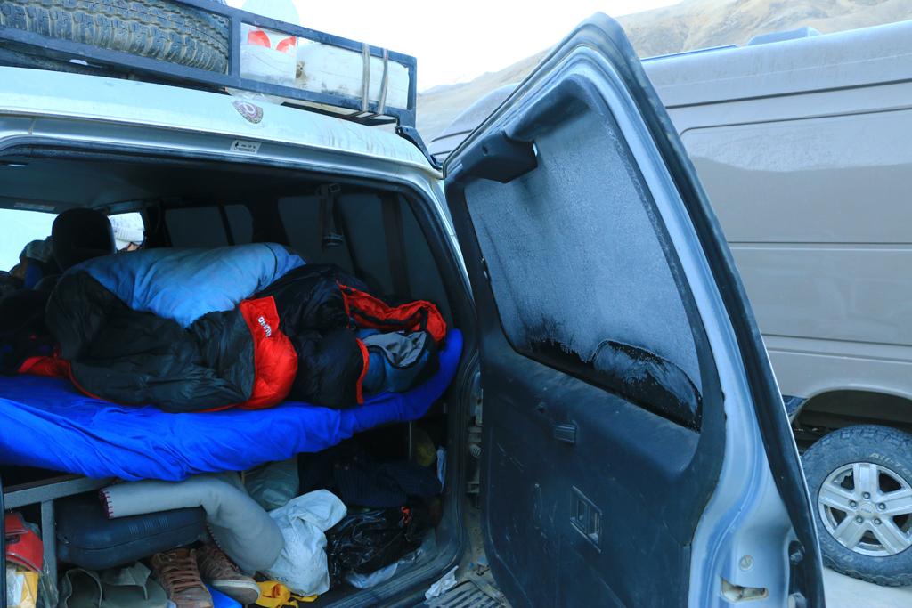 Das Autobett. Ab und zu waren da schon mal die Scheiben von innen gefroren