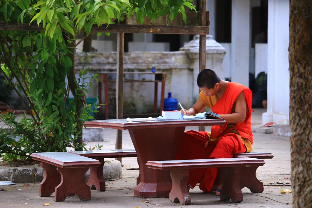 Ein Mönch beim studieren