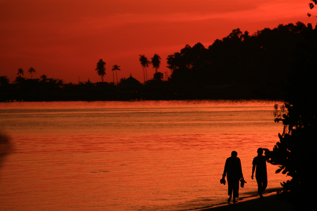 Sonnenuntergang an unseren Stellplatz
