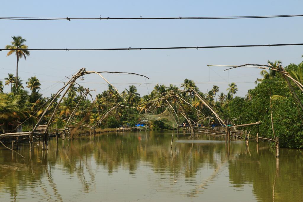 Die für Kerala typischen Fischernetze in den Backwaters